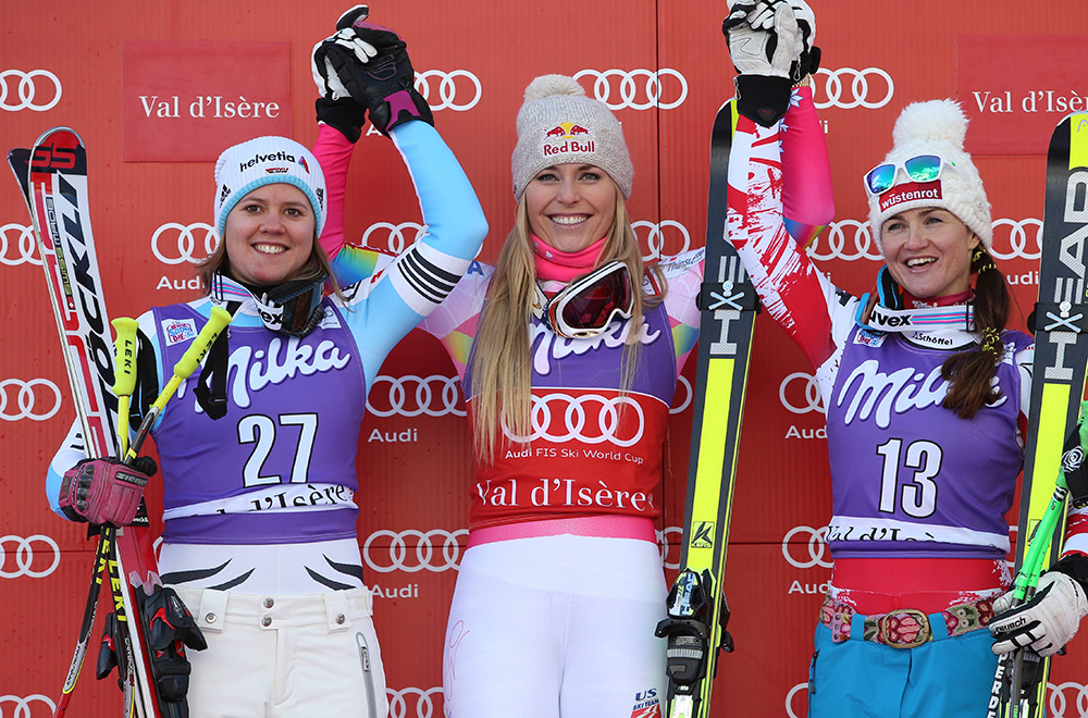ALPINE SKIING - FIS WC Val D Isere VAL D ISERE,FRANCE,20.DEC.14 - ALPINE SKIING - FIS World Cup, Downhill Ladies, Award Ceremony. Image Shows The Rejoicing Of Viktoria Rebensburg (GER), Lindsey Vonn (USA) And Elisabeth Görgl (AUT). Keywords: Stöckli. PUBLICATIONxINxGERxHUNxONLY  Alpine Skiing FIS WC Val D Isere Val D Isere France 20 DEC 14 Alpine Skiing FIS World Cup Downhill Ladies Award Ceremony Image Shows The Rejoicing Of Viktoria Vine Castle Ger Lindsey Vonn USA And Elisabeth Görgl AUT Keywords Stöckli
