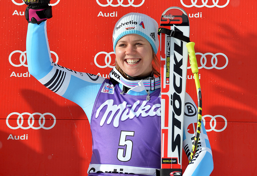 ALPINE SKIING - FIS WC Cortina D Ampezzo CORTINA D AMPEZZO,ITALY,16.JAN.15 - ALPINE SKIING - FIS World Cup, Downhill Ladies, Award Ceremony. Image Shows Viktoria Rebensburg (GER). Keywords: Stoeckli. PUBLICATIONxINxGERxHUNxONLY  Alpine Skiing FIS WC Cortina D Ampezzo Cortina D Ampezzo Italy 16 Jan 15 Alpine Skiing FIS World Cup Downhill Ladies Award Ceremony Image Shows Viktoria Vine Castle Ger Keywords Stoeckli