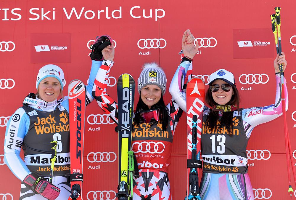 ALPINE SKIING - FIS WC Maribor MARIBOR,SLOVENIA,21.FEB.15 - ALPINE SKIING - FIS World Cup, Giant Slalom, Ladies, Award Ceremony. Image Shows Viktoria Rebensburg (GER). Keywords: Stoeckli, Anna Fenninger (AUT) And Tina Weirather (LIE). PUBLICATIONxINxGERxHUNxONLY  Alpine Skiing FIS WC Maribor Maribor Slovenia 21 Feb 15 Alpine Skiing FIS World Cup Giant Slalom Ladies Award Ceremony Image Shows Viktoria Vine Castle Ger Keywords Stoeckli Anna Fenninger AUT And Tina Weirather Lie