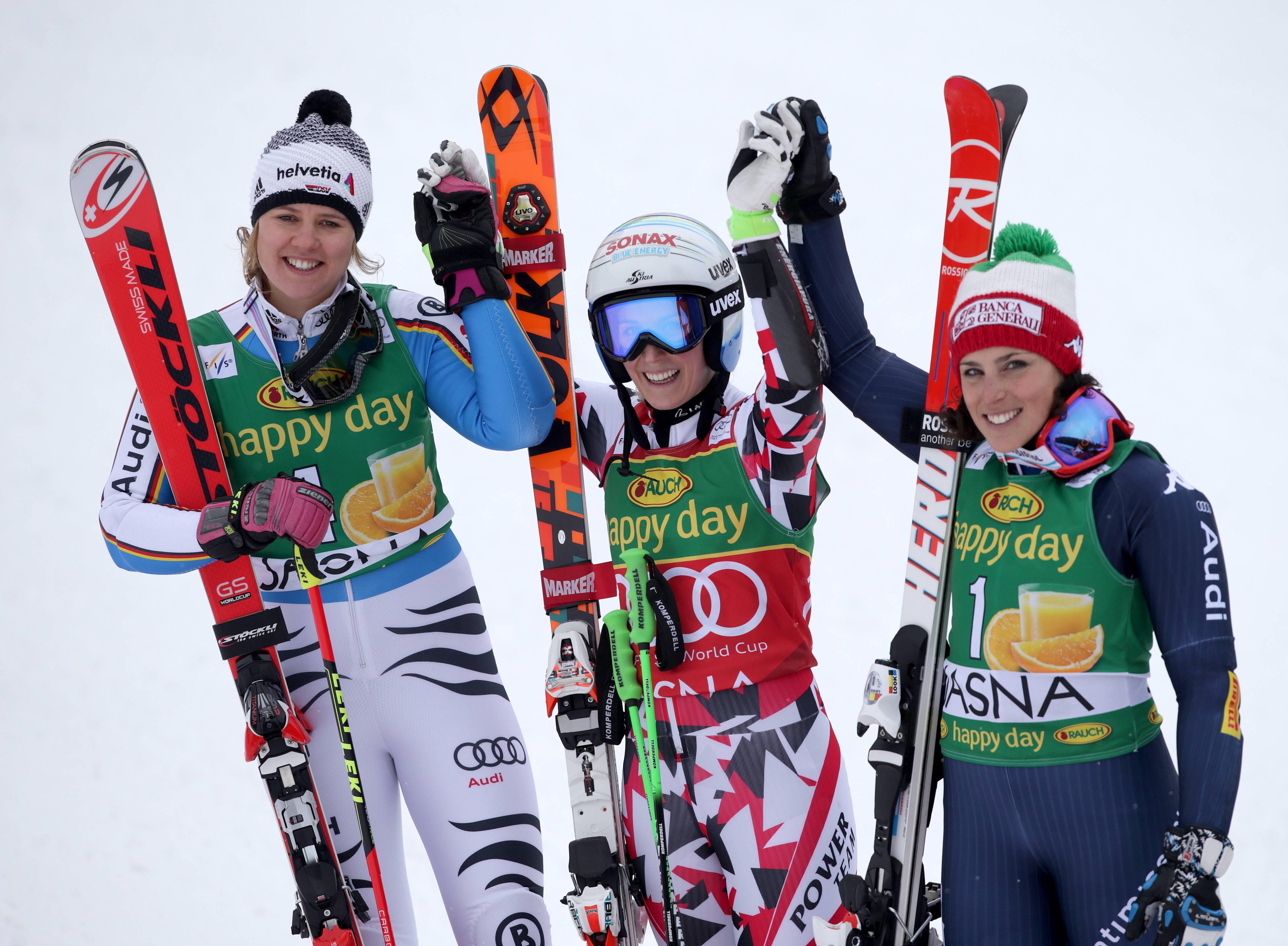 ALPINE SKIING - FIS WC Jasna JASNA,SLOVAKIA,07.MAR.16 - ALPINE SKIING - FIS World Cup, Giant Slalom, Ladies. Image Shows Viktoria Rebensburg (GER), Eva-Maria Brem (AUT) And Federica Brignone (ITA). Keywords: Stoeckli. PUBLICATIONxINxGERxHUNxONLY GEPAxpictures/xWalterxLuger  Alpine Skiing FIS WC Jasna Jasna Slovakia 07 Mar 16 Alpine Skiing FIS World Cup Giant Slalom Ladies Image Shows Viktoria Vine Castle Ger Eva Mary Brem AUT And Federica Brignone ITA Keywords Stoeckli PUBLICATIONxINxGERxHUNxONLY GEPAxpictures XWalterxLuger
